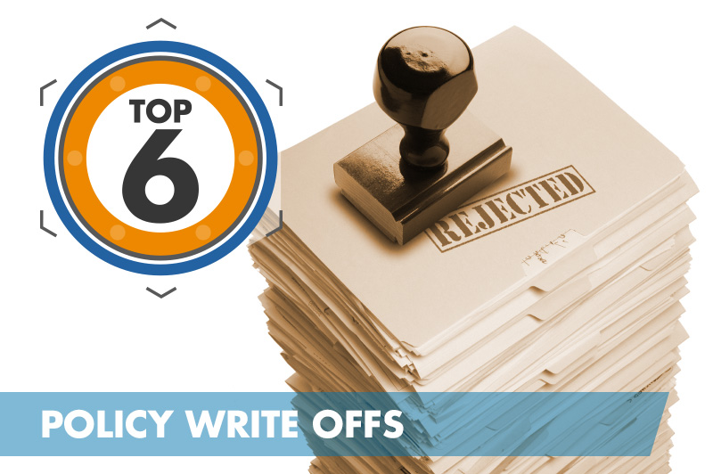 Top 6 Policy Write Offs