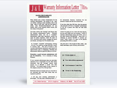 jlwarranty newsletter