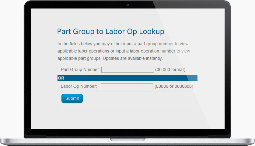 Part Group to Labor Operation Guide Online Version