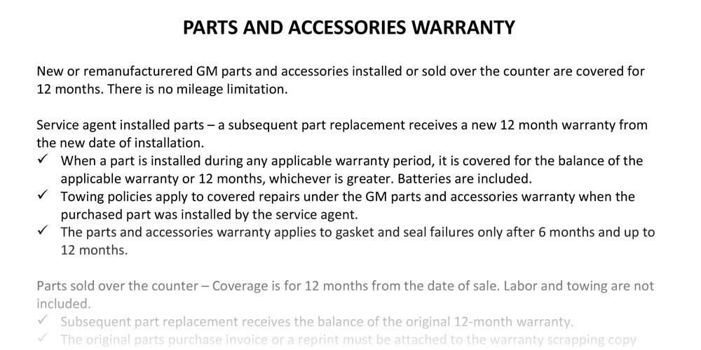 Warranty Operations Manual Content