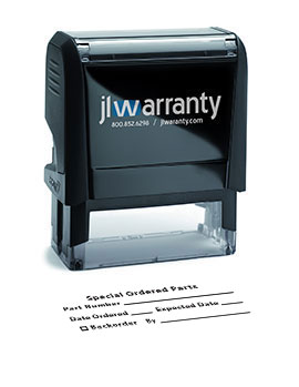 Special Ordered Parts Warranty Stamp