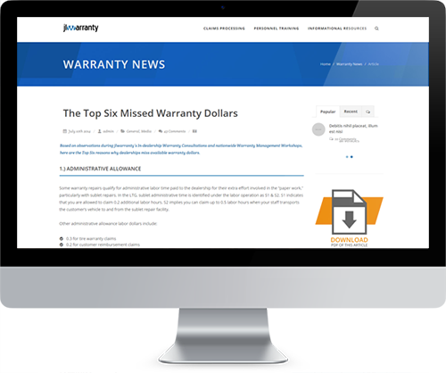 Read Warranty News Online