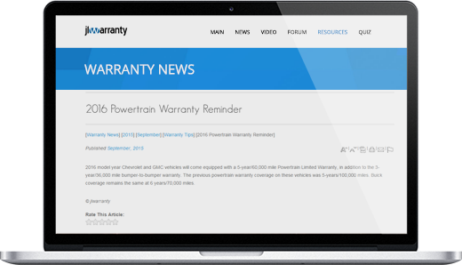 Searchable Warranty News