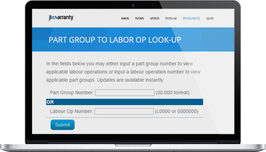 Part Group to Labor Op Lookup