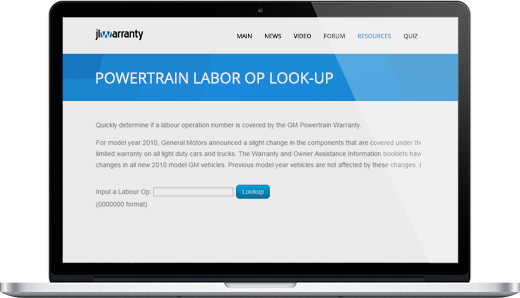 Powertrain Labor Op Look-up
